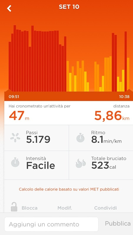 Example of the crono-tracker during a running + full body workout